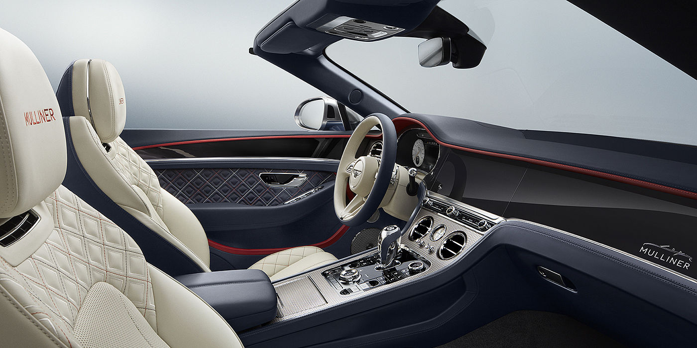 Bentley-Continental-GT-V8-Mulliner-Convertible-front-interior-seen-from-side-in-Imperial-Blue-and-Linen-leather-with-Hotspur-accents